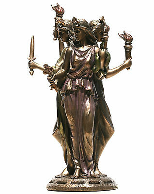 Hecate Hekate Greek Triple Goddess of Magic Statue Sculpture Bronze Finish 8.2""