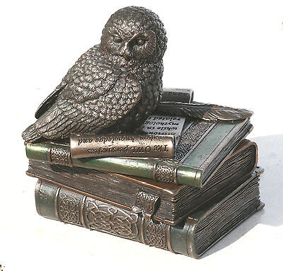Owl of Athena Statue Sculpture Symbol of Wisdom Stash Box Bronze Finish 4.7""