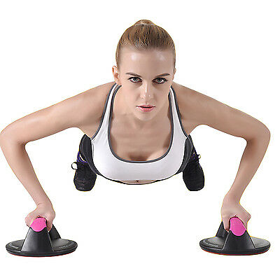 Non-Slip Push Up Stands Rotating Handle Grip Bar Home Sports Workout Gym Fitness