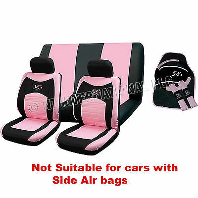 13pc RS Seat Cover Set Pink Girl Car Interior Universal Wheel Pads Covers 81228C