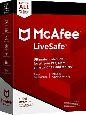 McAfee LiveSafe 2018/2019 -1Year Subscription-Unlimited Device(PC/MAC/ANDR/iOS)