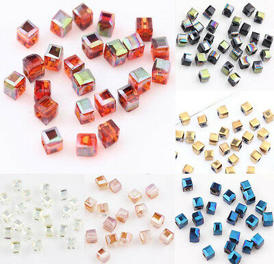 100/200Pcs Faceted Crystal Charm Faceted Square Cube Glass Loose Spacer Beads