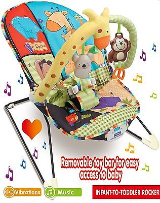 Baby Safari Infant To Toddler Bouncer Rocker Chair Soft Soothing Music Vibration
