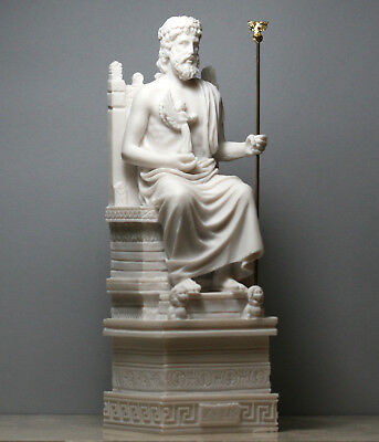 Greek King of Gods ZEUS JUPITER Statue Sculpture Handmade Figure 10.63 in