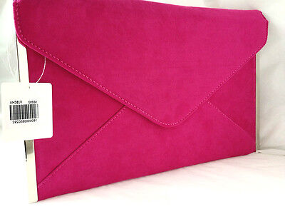 New Fuschia Pink Faux Suede Evening Day Clutch Bag Envelope Club Xmas Party