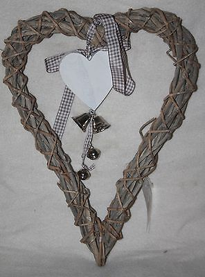 Large Willow & Wicker Hearts With Bells Home Wedding Decor PP200