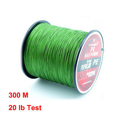 Green Multifilament Braided Fishing Line Test 20LB 300M 330 Yards TriPoseidon