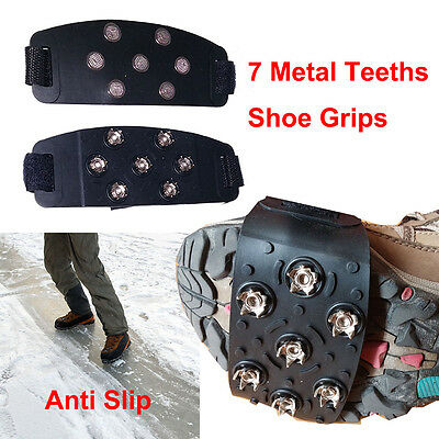 Ice Snow Shoes Grippers Cleats Boots Cover Crampon Hiking Anti Slip 7 Teeth
