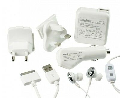 Logic3 4-in-1 Pack Apple iPhone iPod, Headset, Dock-Kabel USB Sync-/Ladekabel
