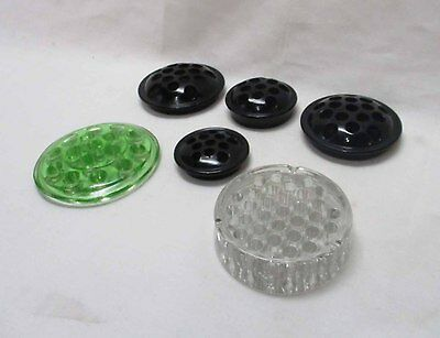 Group (6) of Vintage Flower Frogs - Glass - Onyx Black -  Green (#10)