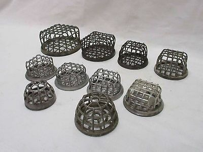 Group of Ten (10) Vintage Primitive Wire Mesh Flower Frogs (#12)