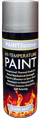 High Temperature Spray Heat Resistant Mat Silver Paint up to 600°C Stove - 400ml