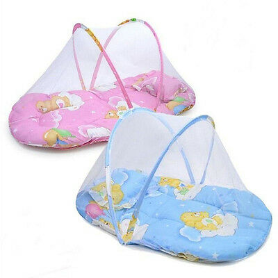 New Kids Crib Mosquito Net Portable Baby Cradle Bed Insect Canopy Cushion Pillow