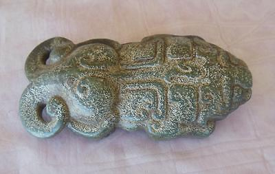 Antique carved Jade 2 headed Mythical Animal Figure stone