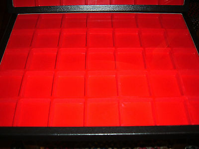"""2 display jewelry case Riker Mount display box shadow box12 X 16"""" red divided 35"""