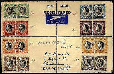 South West Africa Scott 125-32 KGVI pairs on Registered FDC