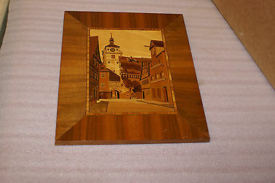 Schild Intarsia German Wood Inlay Marquerty Picture Town Scene 7 1/2 x 10