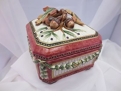 Fitz Floyd EQUESTRIAN Square Covered Box & Lid Acorns Leaves Autumn vintage