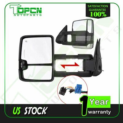 For 03-07 Chevy GMC Towing Mirrors Chrome Side Power Heated LED Signal Lamp Pair