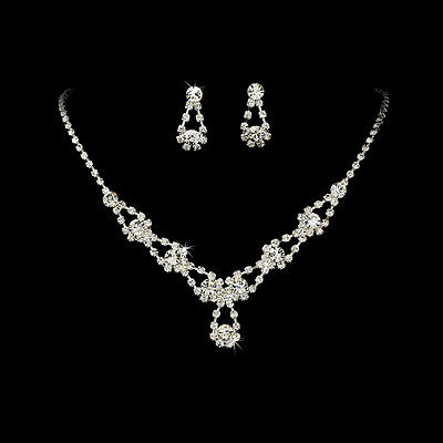 Necklace Earring #5360 Sparkling Silver Clear & Black Crystal Bridal Jewelry Set