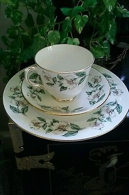 Crown Staffordshire Fine Bone China Cup, Saucer And Tea Plate Blossom Design