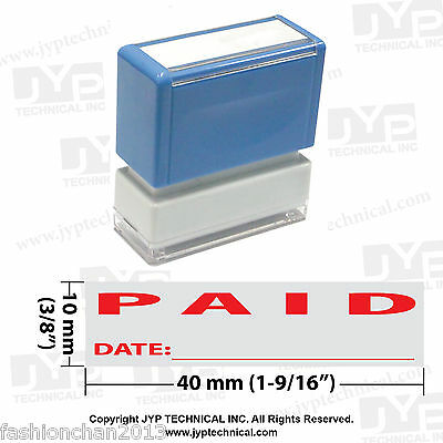 "JYP PA1040 Rectangle Stock Pre-Inked Rubber Stamp with ""Paid and Date"""