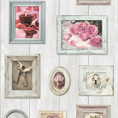 Wood Natural Shabby Chic Rustic Home Sweet Home Floral Feature Wallpaper 102566
