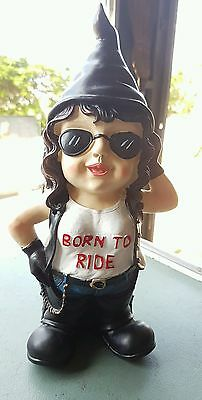 33Cm Tall Female Biker Gnome - Born To Ride Biker Chick Gnome  With Sunglasses