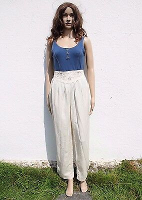 Vintage 1980s Cream High Waisted Embroidered Hareem Trousers Boho Hippy 16-18