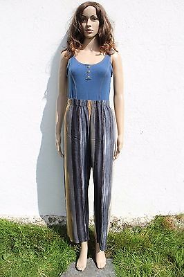 Vintage 1990s High Waisted Viscose Beach Trousers Black Beige Stripe Print 8-10
