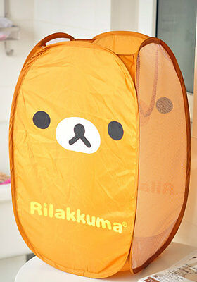 Cute Rilakkuma Relax Bear Portable Foldable Laundry Basket for Storage