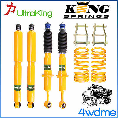 "Nissan Navara D40 Front & Rear Shocks + KING Coil Springs + Shackles 2"" Lift Kit"