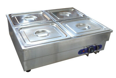 4-Pan Counter Top Warmer Bain-Marie Buffet STEAM TABLE FOOD WARMER 110V 1500W