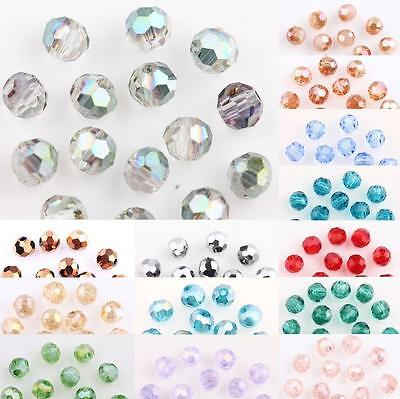50/100Pcs AB Plated Faceted Czech Crystal Glass Round Loose Spacer Bead 4MM DIY