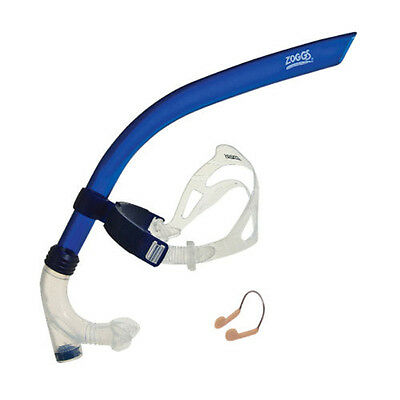 Zoggs Swimmers Centre Snorkel In Blue Swimming Pool Training Aid Free Nose Clip