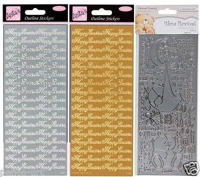 Anitas Umriss Aufkleber Happy Ostern Gold Silber oder New Arrival Baby Taufe