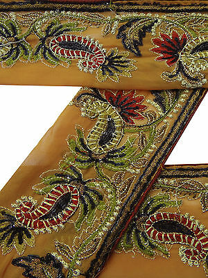 Vintage Indian Sari Border Used Embroidered 1YD Trim Sewing Brown Ribbon Lace