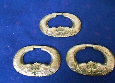 3  FRENCH Antique bronze Oval PULLS w/ 2 FISHES