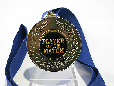 """""""Player of the Match"""" Bright Gold 50mm Medal Engraved / Ribbon FREE"""