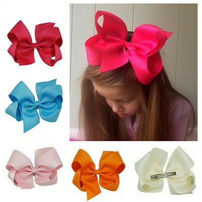 "6"" Solid Grosgrain Ribbons Hair Bows With Alligator Hair Clip For Baby Girls New"
