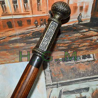 Wooden Walking Stick Cane w Black Polished Ribbed BRASS KNOB HANDLE