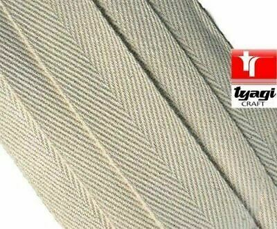 12mm  X 50m Natural Pure Cotton Tape Beige Webbing Tape