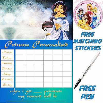 Princess Jasmine Aladdin A4 Personalised Reusable Reward chart, stickers & pen