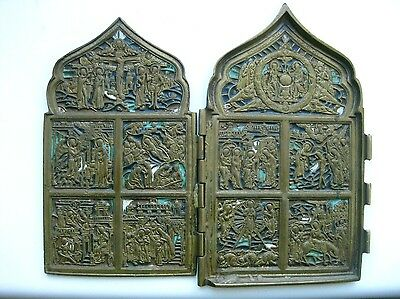 Antique XIXc Russian Bronze 3 colors of enamel icon 12 Feasts