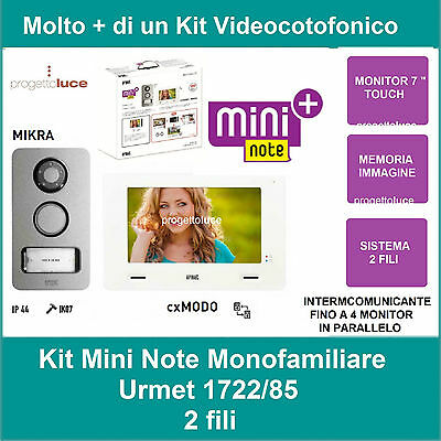 URMET KIT MONOFAMILIARE VIDEO CITOFONO COLORI 2 FILI 1722/85 con monitor 7''