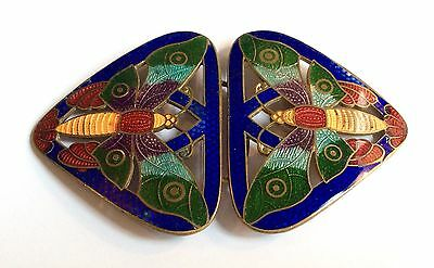 Original Art Nouveau 2-part gold-tone metal enamelled butterfly buckle