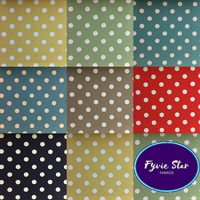 Printed - CANVAS POLKA DOTS - 100% Cotton 150cm wide sold Per Metre in 7 colours