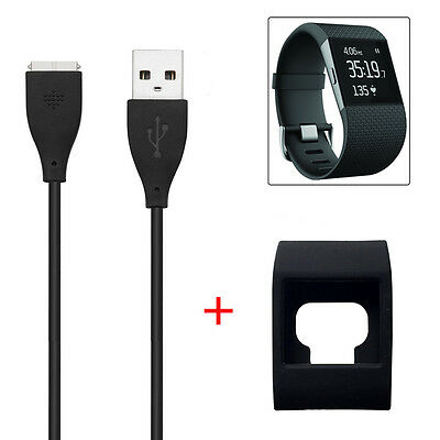New USB Charging Cord Charger + Slim Designer Sleeve Protector for Fitbit Surge