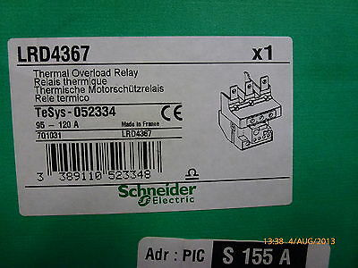 Schneider LRD4367 Thermal Overload Relay 95-120A TeSys 052334 7Q1031 New