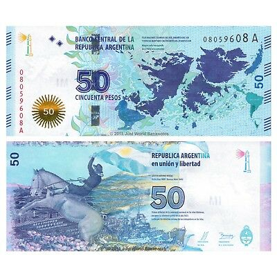 Argentina 50 Pesos 2015 Falkland Islands Commemorative P-New UNC Series A